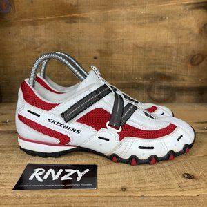 Skechers Biking White Red Leather Low Top Sneakers